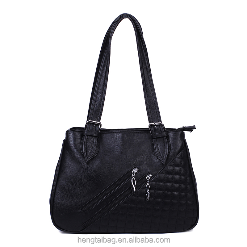2016 new style high quality black women tote bags low price China lady hand bags shopping shoulder bags