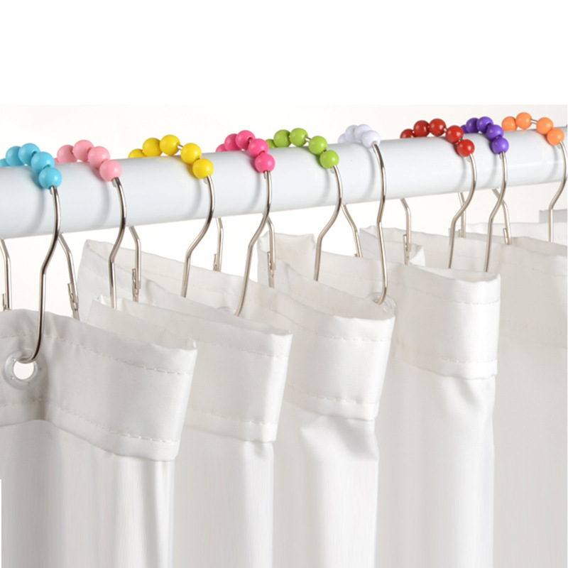 CALABASH PEARLS Shower Curtain Hooks RingsColorful Plastic Pearls Metal Bathroom