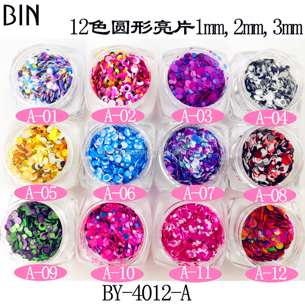 High Quality Mix color Mix 3 size Round Nail Flakes Glitter