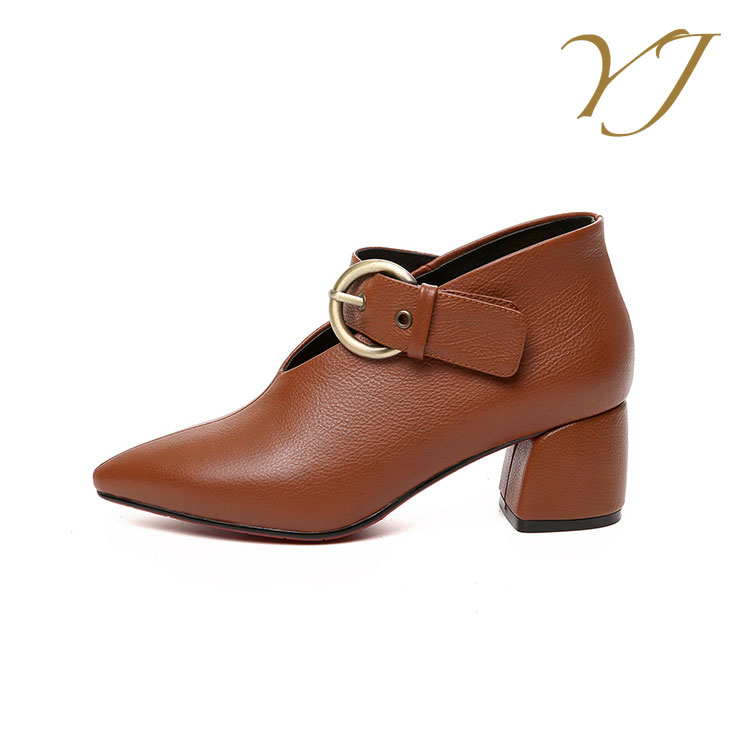 shoes pointed wholesale China low leather heel ladies italian dress 2018 genuine C7wqTUR