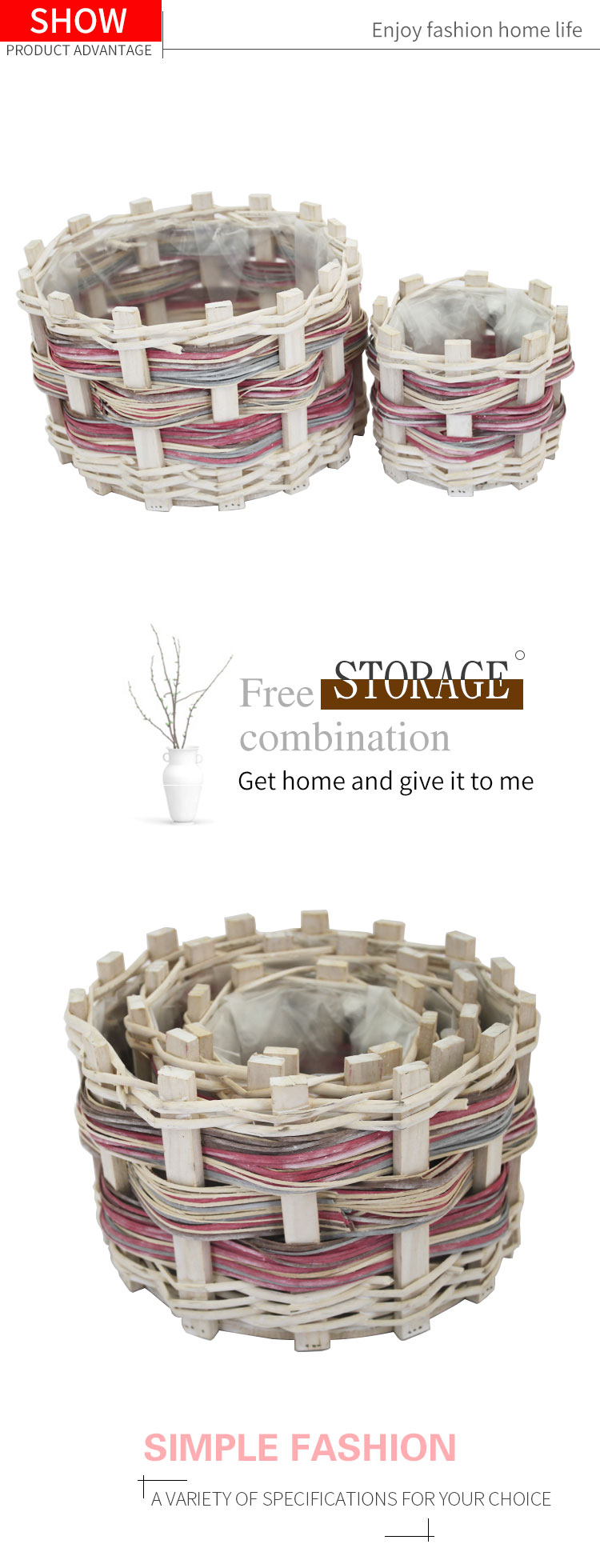 Round handmade wood flower pot wooden garden basket with plastic liners set of 3