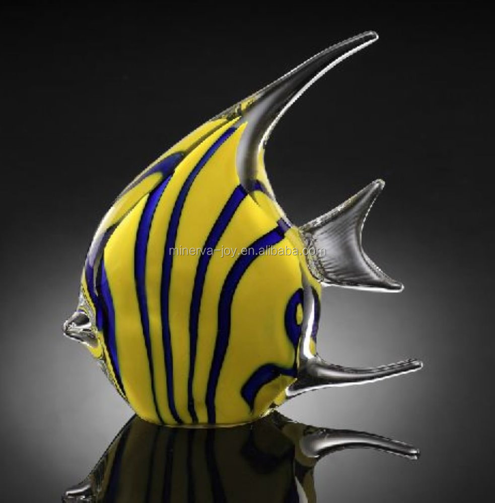 Glass craft+Yellow+Blue+Tropical Fish+Crystal Art
