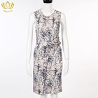 Elegant printed sleeveless slim lady's dress
