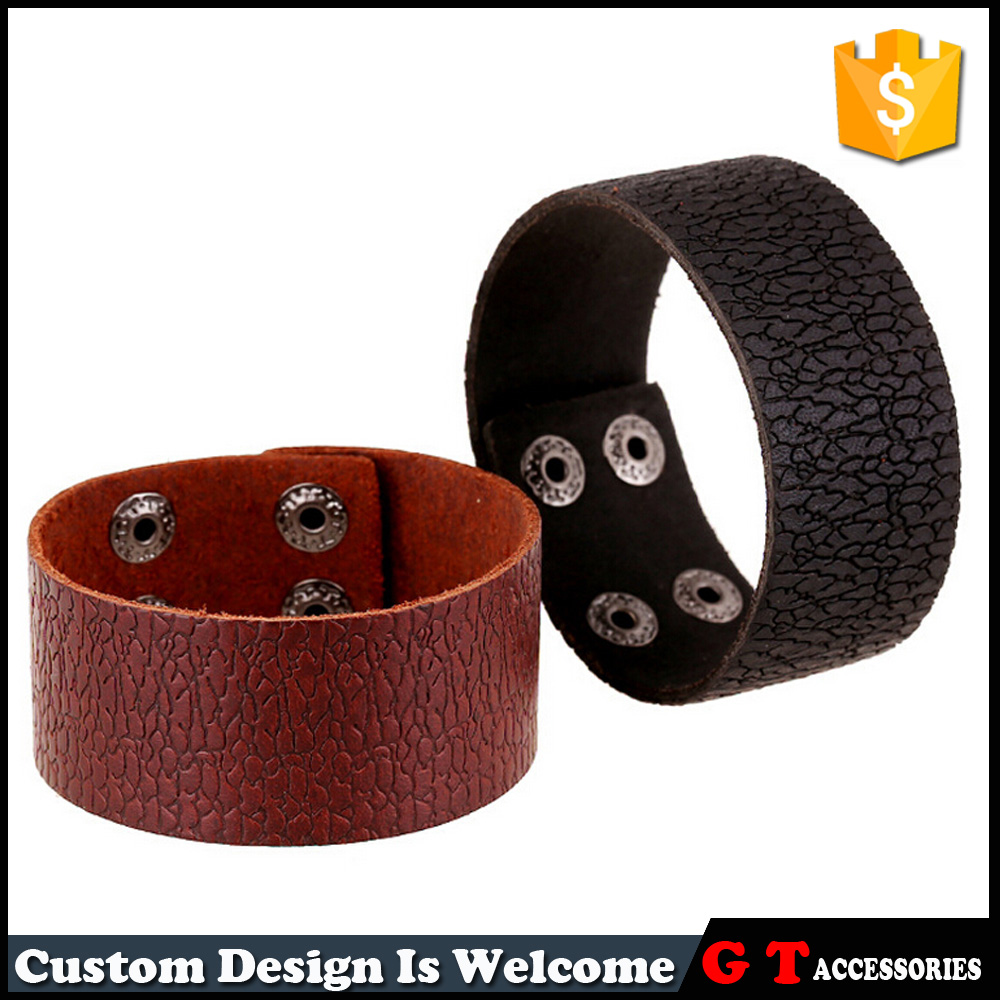 Newest Style Men Women Bangle Cuff Black And Brown Multi Layer Punk Rock Adjustable Genuine Leather Bracelet