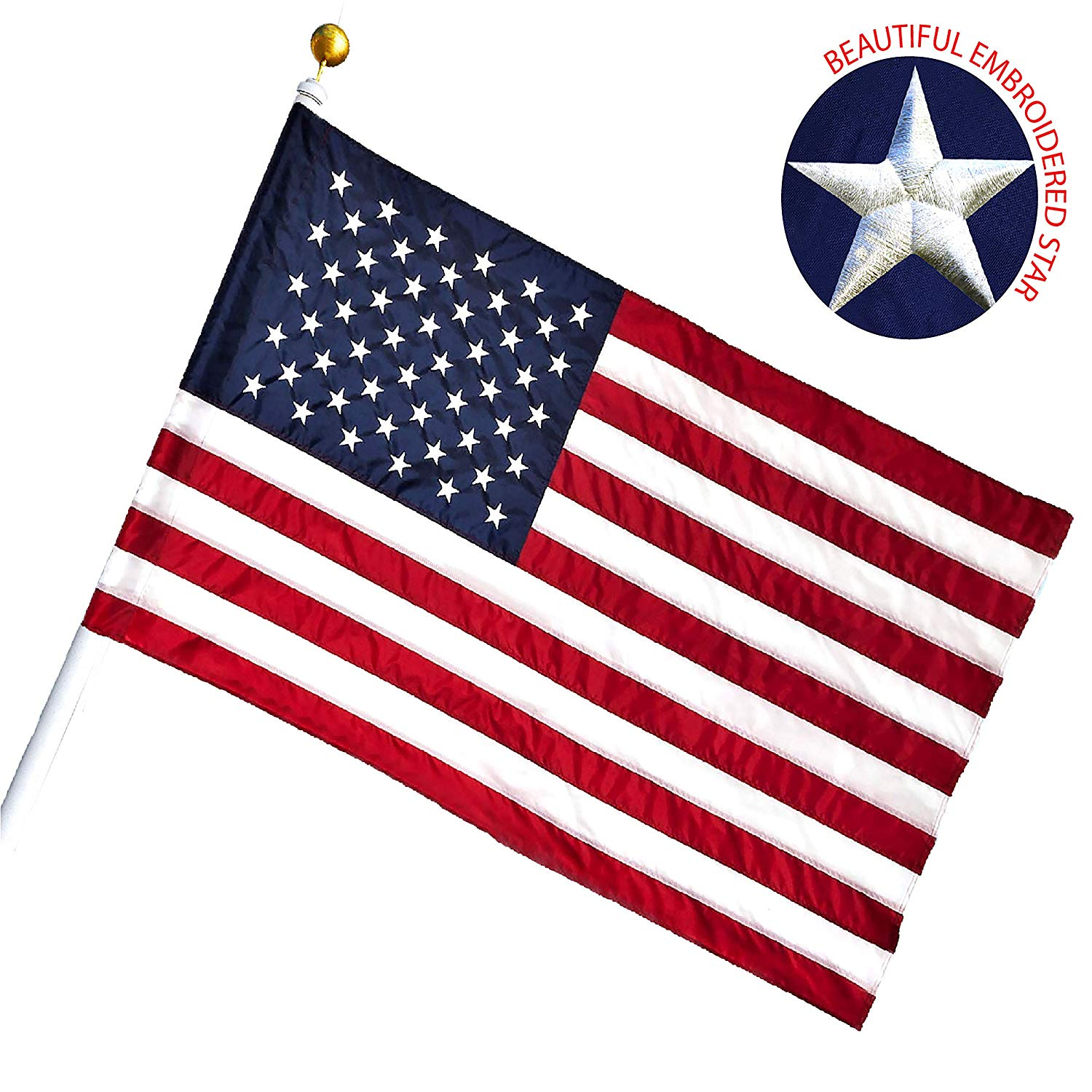 G128 - American USA US Flag 2.5x4 Ft Pole Sleeve Banner Style Embroidered Stars Sewn Stripes Pole Sleeve (Flag Pole is NOT Included)