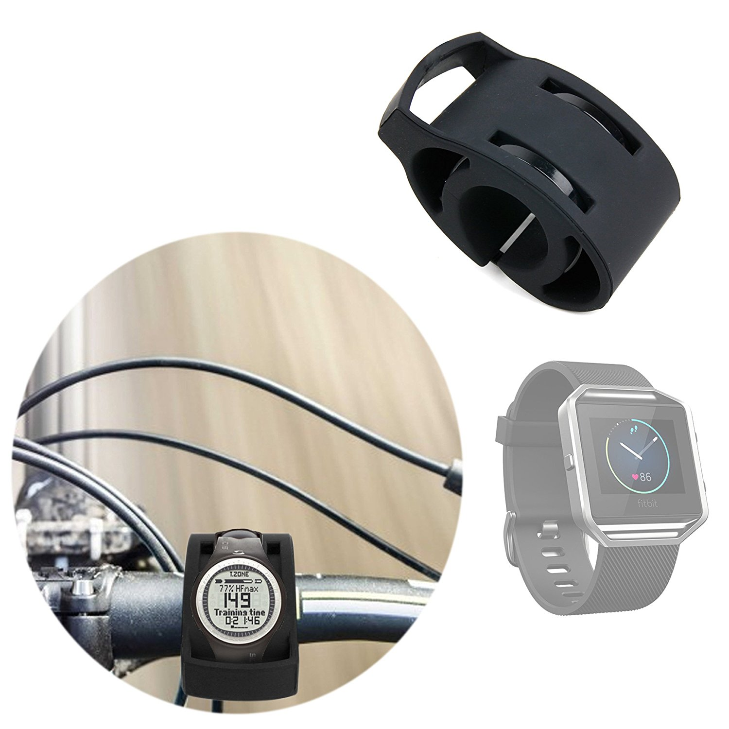 DURAGADGET Black Bicycle Handlebar Mount Kit for NEW Fitbit Blaze Smartwatch - Secured with Strong Cable Ties