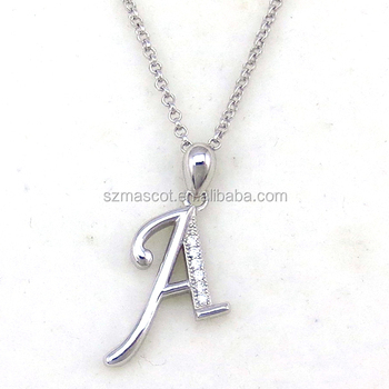 New Design Stylish Alphabet Letter A Simple Silver Pendant