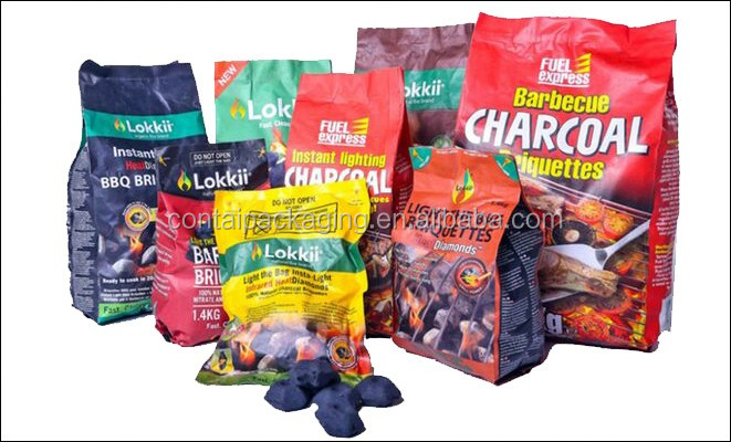 Best selling stand up 1KG 2KG 3KG 4KG 5KG heat seal moisture proof barbeque charcoal heavy duty plastic bags