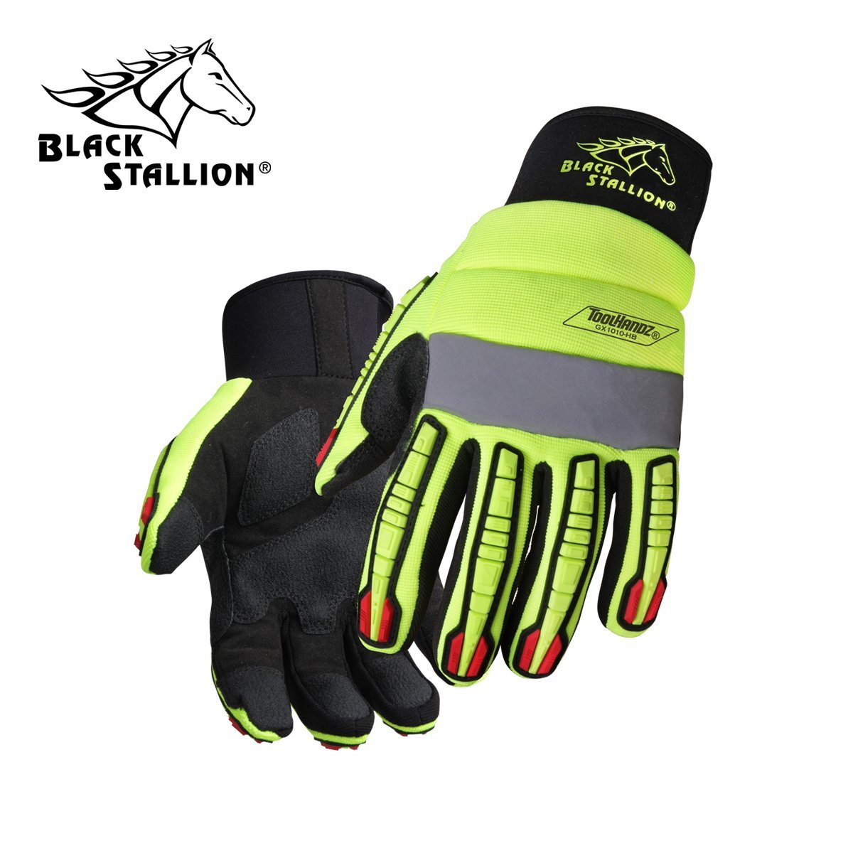 REVCO BLACK STALLION - GX1010-HB TOOLHANDZ HI-VIS SYNTHETIC LEATHER MECHANIC'S GLOVES - SIZE: LARGE - CASE OF: 120 PAIR