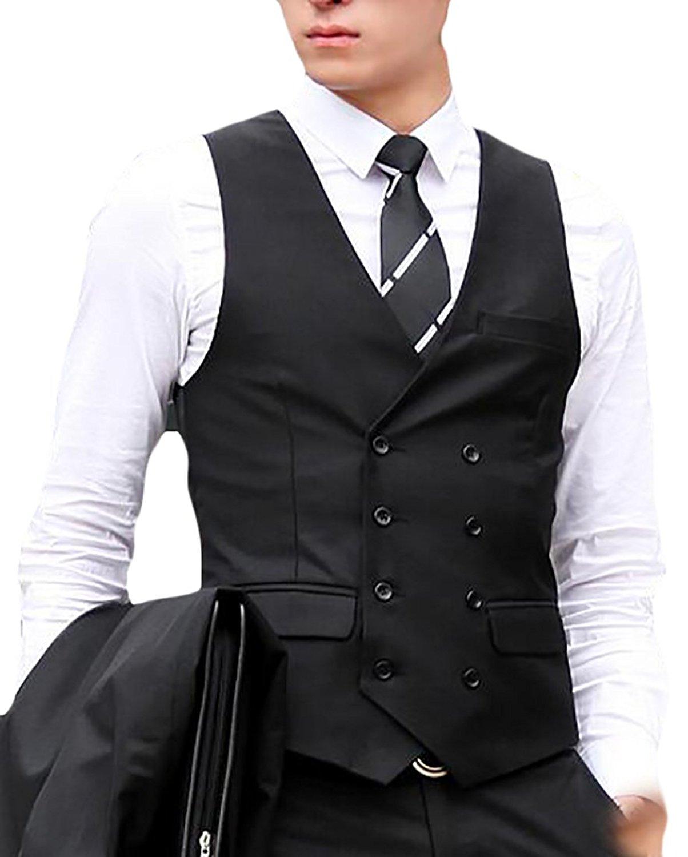 Yayu Mens V-Neck Sleeveless Double-breasted Vest Blazer Vest Jacket