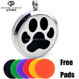 Paw Print Aromatherapy Diffuser Lockets Artificial Jewellery