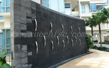 shanxi black granite water feature stone fountain flow wall