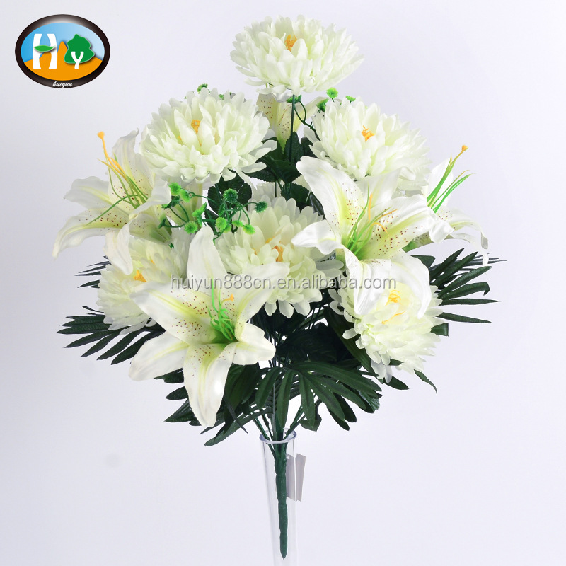 New design simulation bush chrysanthemum mixed artificial silk lily for sale