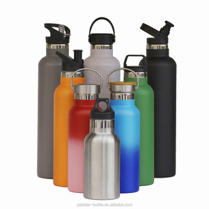 Manufacture thermal stainless steel vacuum insulated flip-top flask with straw