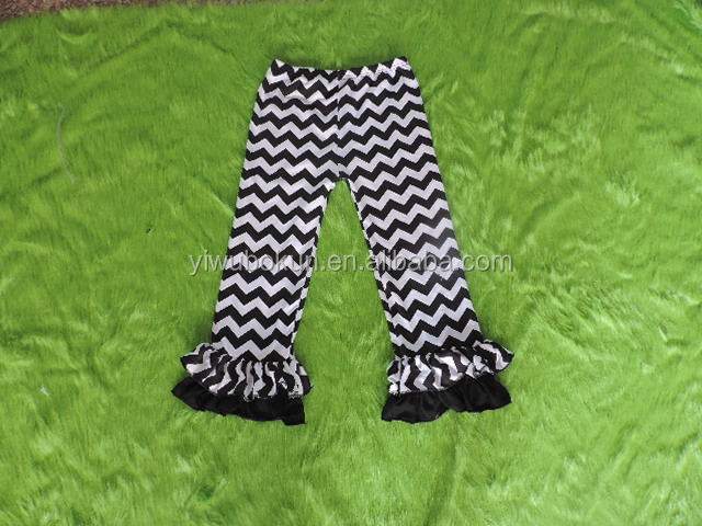 Hot Spring Chevron Ruffle Caprics for Girls Baby Girls Capris Cotton Casual Shorts Chevron 2016 Summer Kids Ruffles Pants