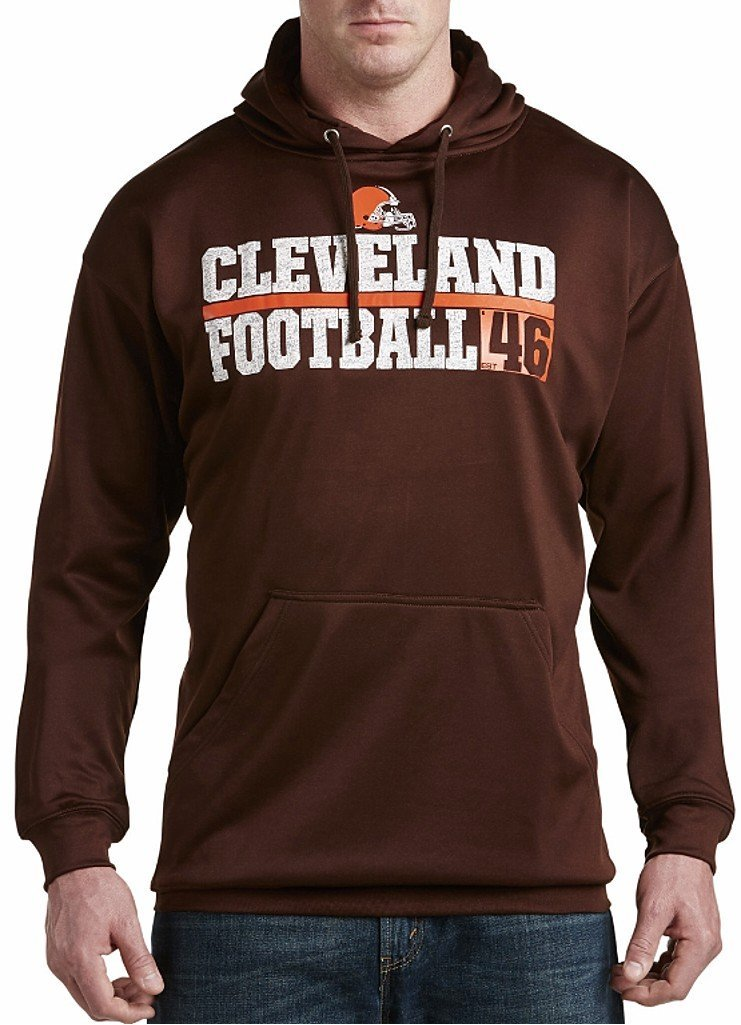 Get Quotations · Cleveland Browns NFL Majestic Mens 1 Handed Catch  Synthetic Polyester Performance Fleece Hoodie Brown Big   274bd3a1f