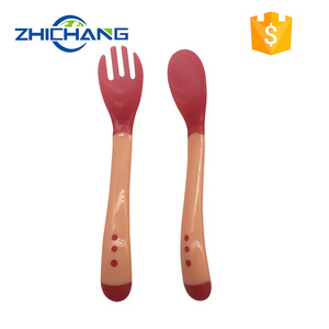 High quality Silicone Changing Baby Fork And Spoon Set