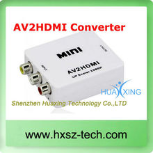 1080P RCA AV to HDMI Converter Adapter Mini Composite CVBS to HDMI AV2HDMI Converter in Retail Package