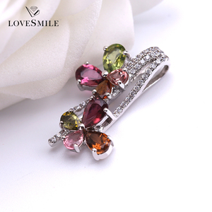 Fashion woman jewelry colored gemstones tourmaline jewellery 925 sterling silver pendant
