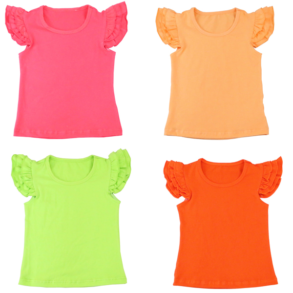 2017 latest design Baby Girl Chirstmas Simple Solid Red Ruffle Kids Flutter Sleeve T Shirt