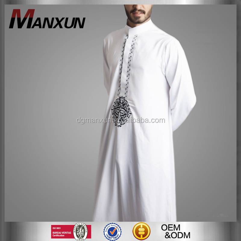 2016 New Style Dubai Thawb Muslim Men Thobe Embroidered Islamic Abaya