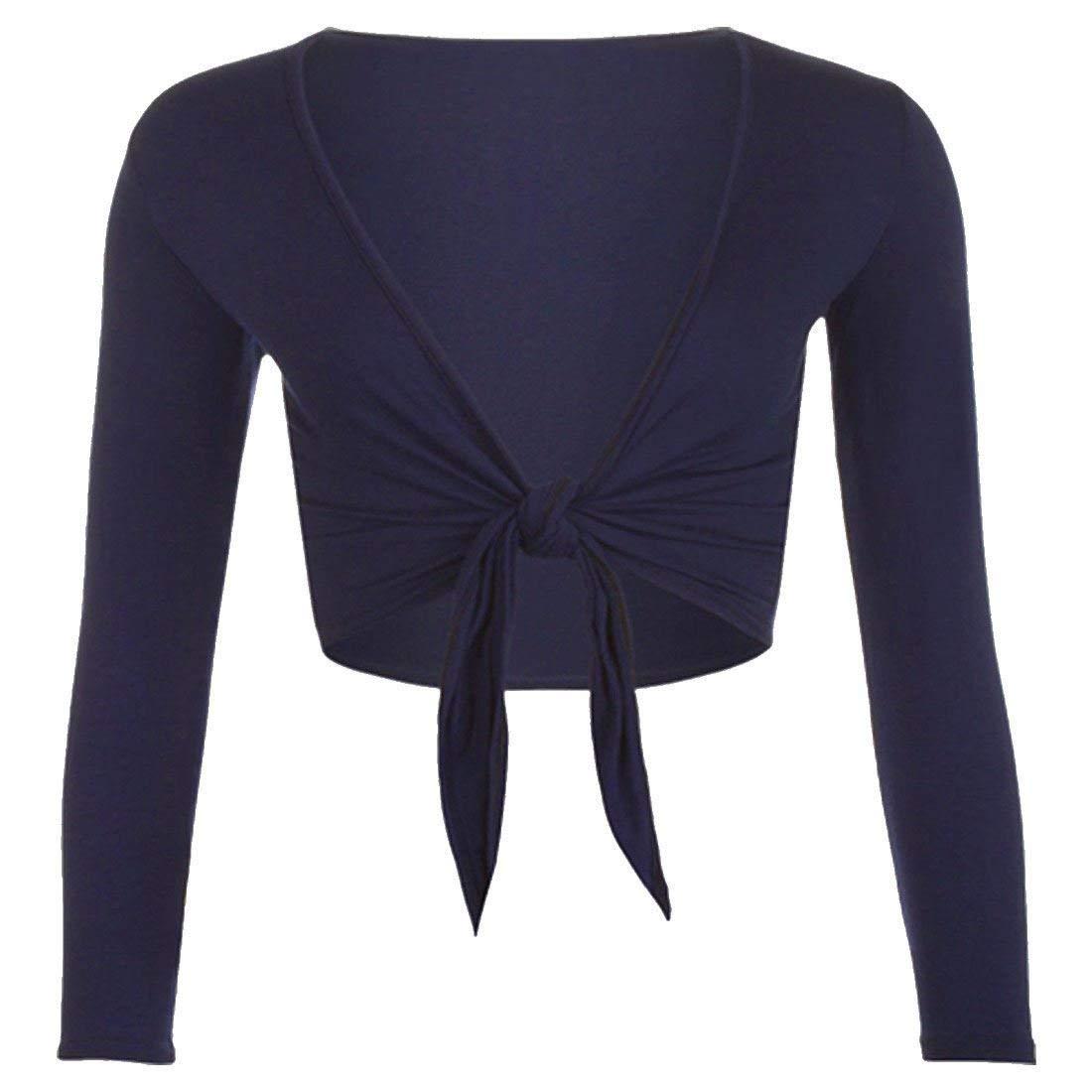 REAL LIFE FASHION LTD Womens Cropped Tie up Front Bolero Cardigan Ladies Long Sleeve Plain Top Shrug