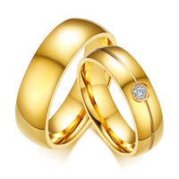 Trendy Gold Color Stainless Steel Engagement One Stone Ring Designs Wedding Bands Ring for Women Men Alliance