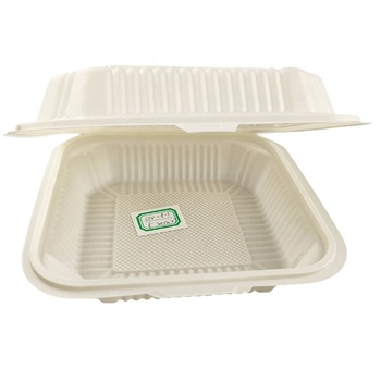 EcoNewLeaf 8 inch Wholesale Plastic Clamshell Packaging Lunch Boxes Disposable Plastic Food Container