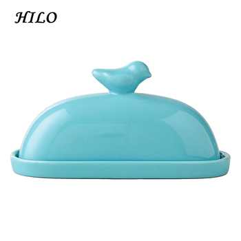 Hot Selling Bird Decoration Ceramic Butter Dish with Lid
