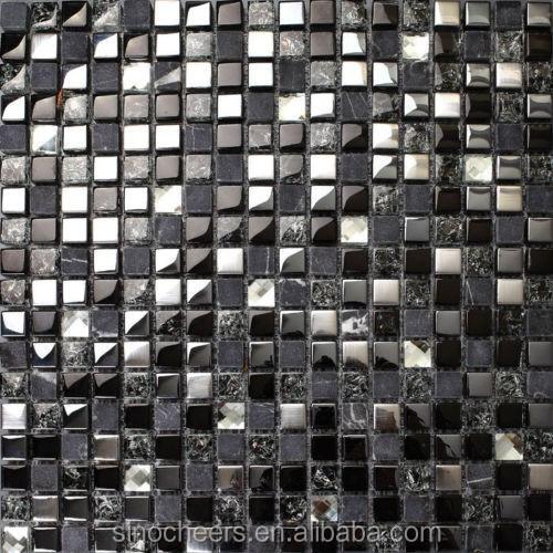 grauem stein schwarz glasmosaik silber fliesen für küchenwand, Hause ideen