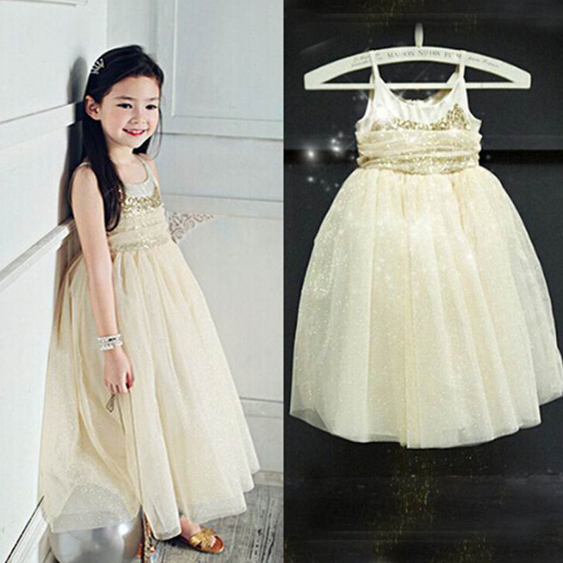 2016 summer kids dresses sequined girls dress sling mesh princess party dresses for weddings