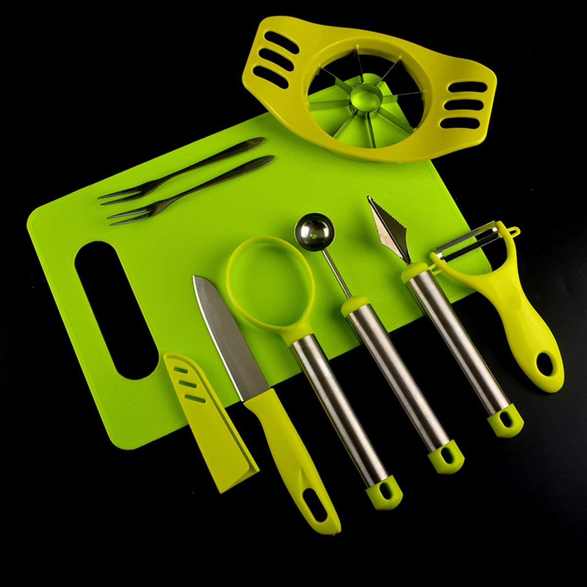 Stainless Steel & Food Grade Silicone Fruit Tools Set, Dual-Purpose Melon Baller Scoop and Fruit Carving Knife,Swivel Fruit and Vegetable Peeler
