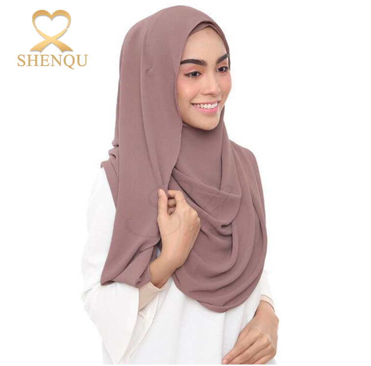 New design summer heavy bubble chiffon scarf plain muslim hijab scarf shawls