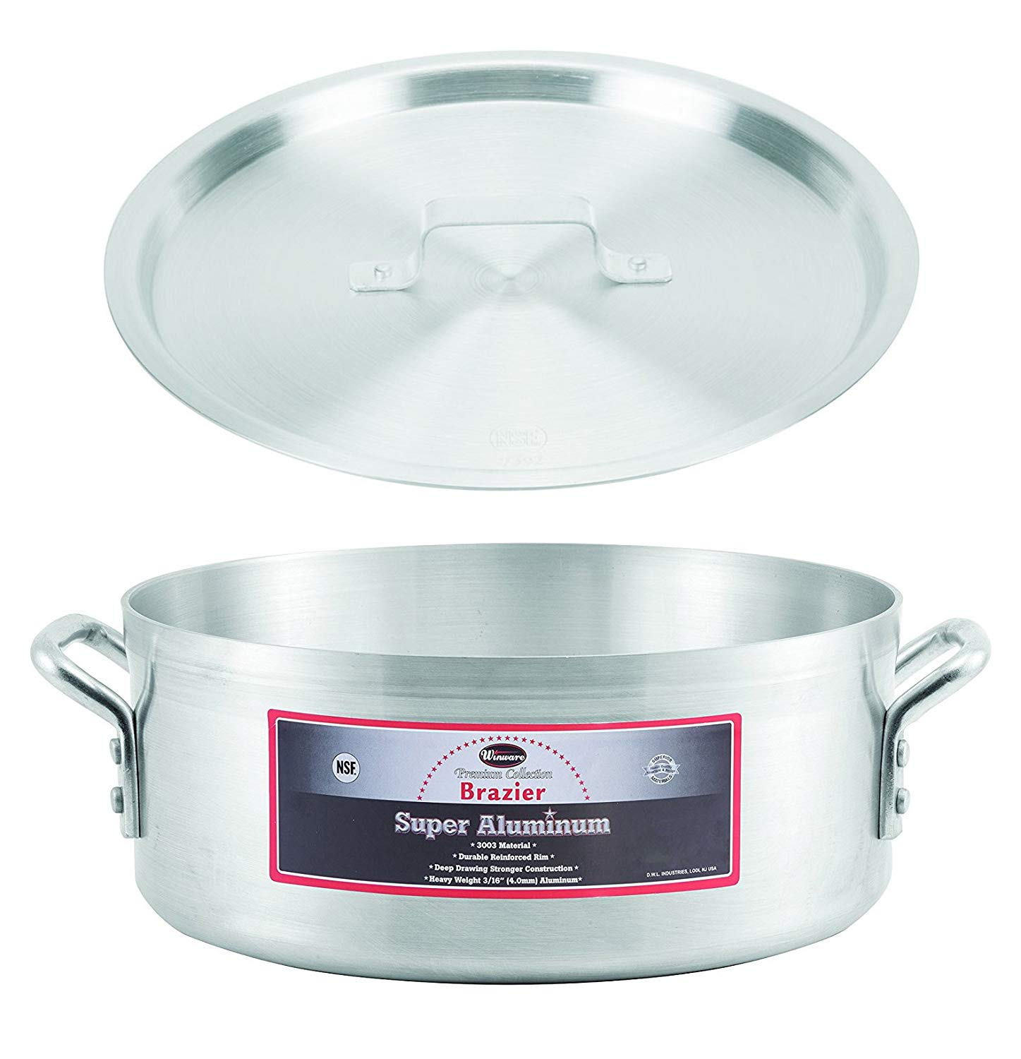 """Winco AXBZ-15, 15-Quart 14-3/8"""" x 5-3/4"""" Super Aluminum Brazier Pan with Cover, Heavy-Duty Commercial Grade Braiser Pan with Lid, NSF"""