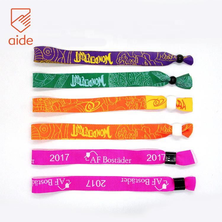 Custom Plain Embroidered Textile Woven Festival Cloth Fabric Friendship Bracelets With Logo Plastic Lock