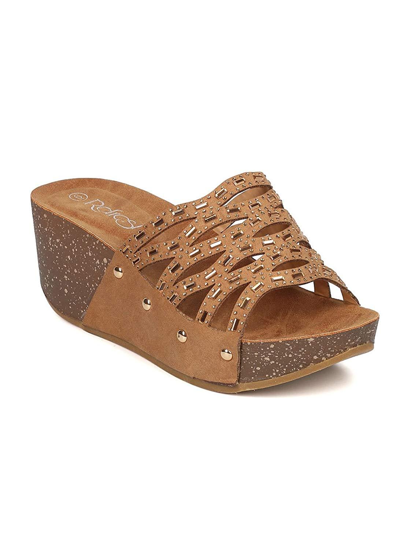 Alrisco Women Faux Suede Open Toe Rhinestone Cutout Platform Wedge Sandal GI44