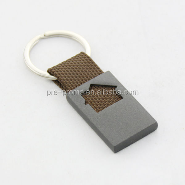 House design custom metal keychain with leather strap