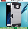 Hybrid Heavy Duty credit card case for samsung s7 Brushed Combo Armor Defender Case for Samsung Galaxy S7 Metal Cover