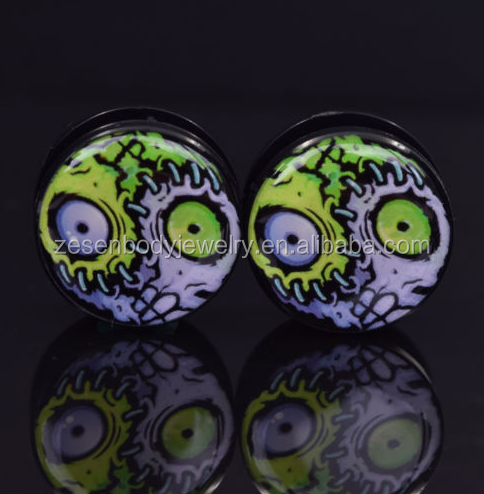 New Ear Plug Expander Stretcher Acrylic Green Eyeball Screw Flesh Tunnel Body Jewelry