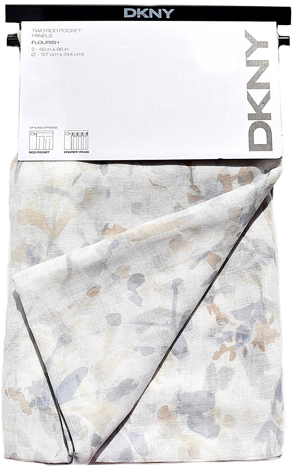 Dkny Painted Botanical Nature Fl Semi Sheer Window Curtains 100 Cotton 52 By 96