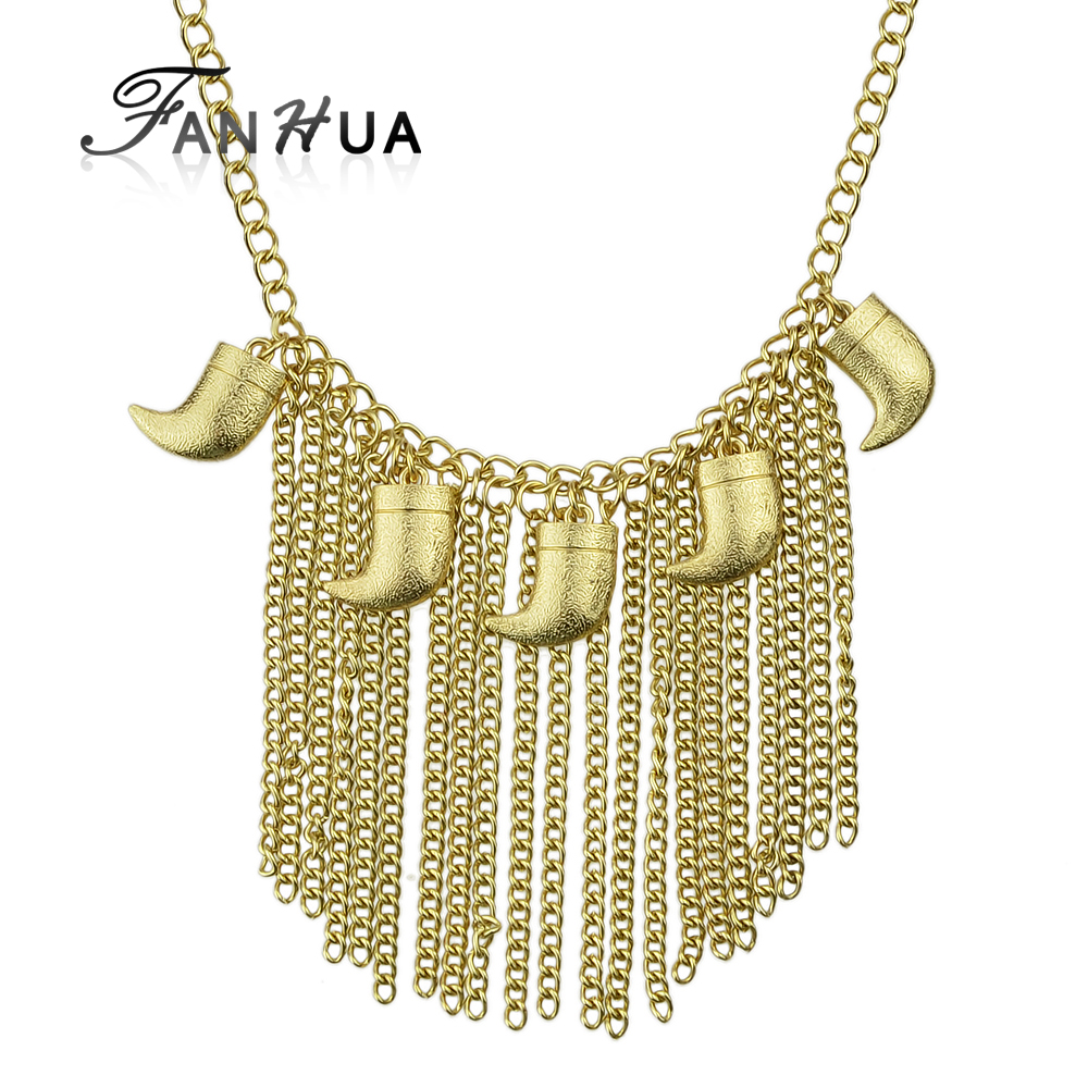 Punk Rock Gold Plated Long Tassel Necklace for Women