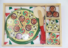 kitchen game toys kids pizza play wood cutting set