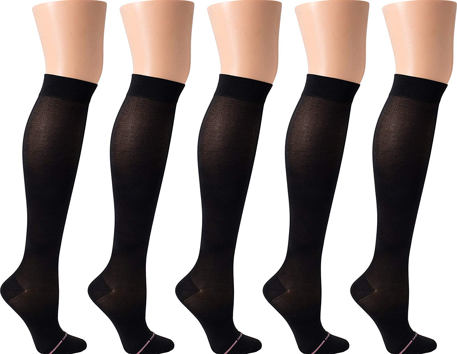 45dd562b96599 Get Quotations · Dr. Motion Women's Compression Ultra Thin Liner Knee High  Socks 5 pair pack (Black