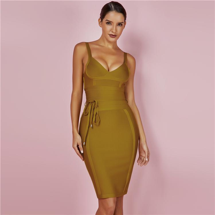 Alibaba.com / New Arrivals Sexy Rayon Sleeveless Deep V Neck Bodycon Bandage Club Party Dress