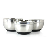 3 pc Stainless Steel Non Skid Silicone Base Mixing Bowl Set 1.5-3-5 Quart
