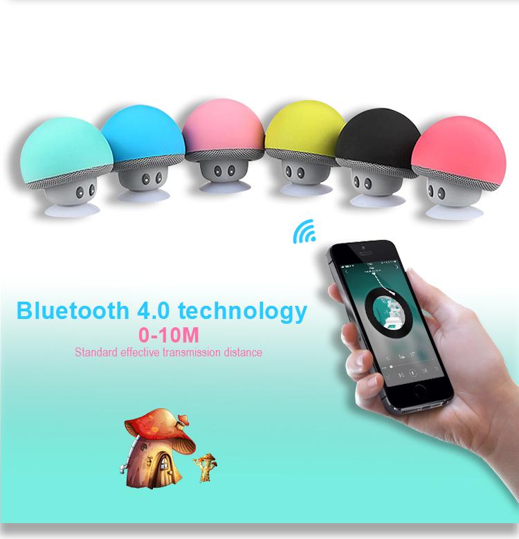 2020 Giá Rẻ Dễ Thương Xách Tay Tắm Nấm Sucker Không Thấm Nước Không Dây Bluetooths Loa Điện Thoại Di Động Xe Mini Loa