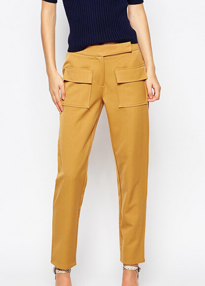 EY0107P high quality office suit yellow pencil pants work trousers women