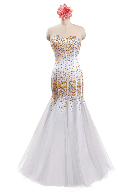 Sweetheart White Satin Tulle Mermaid Gold And Sliver Beaded Prom Dresses Formal Gowns Piece China