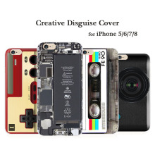 Creative Camouflage TPU Printing Case for iPhone 5 6 7 8 Plus Disassembled Phone Game Console Tape Calculator Back Cover
