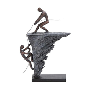 Metallic black two abstract man Mountain climbing figure statue
